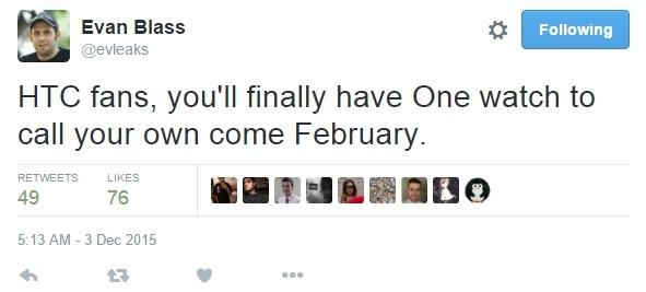 @evleaks: дебют умных часов HTC One состоится через 2 месяца