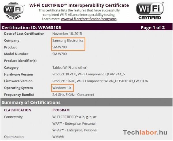 Samsung SM-W700: 12-дюймовый планшет под управлением Windows 10