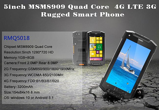 RMQ5018— 5-дюймовый защищенный смартфон сWindows 10 Mobile за $130