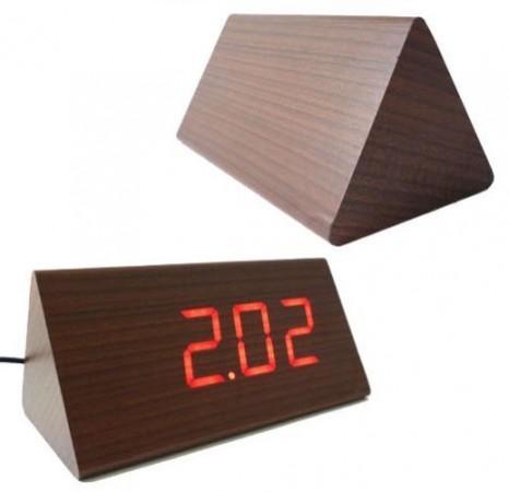Треугольные деревянные часы Triangle LED Clock