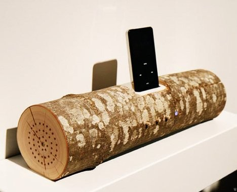 Деревянная док-станция для iPod - Wood Log iPod Speaker