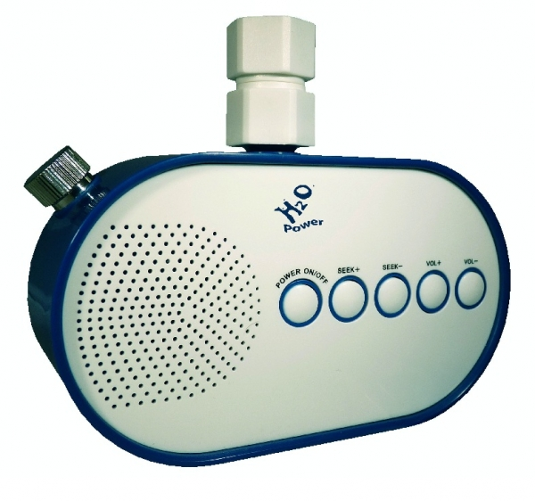 «Зеленое» радио для душевой – использует поток воды для питания