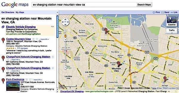 Google отметила на своих картах заправки для электромобилей