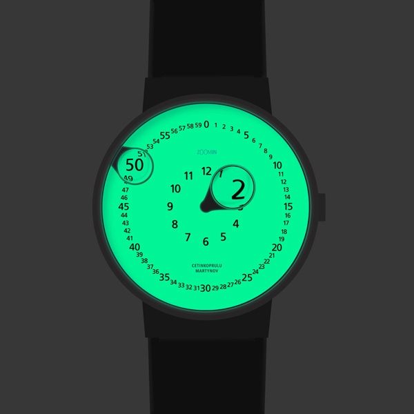 Часы со стрелками-лупами