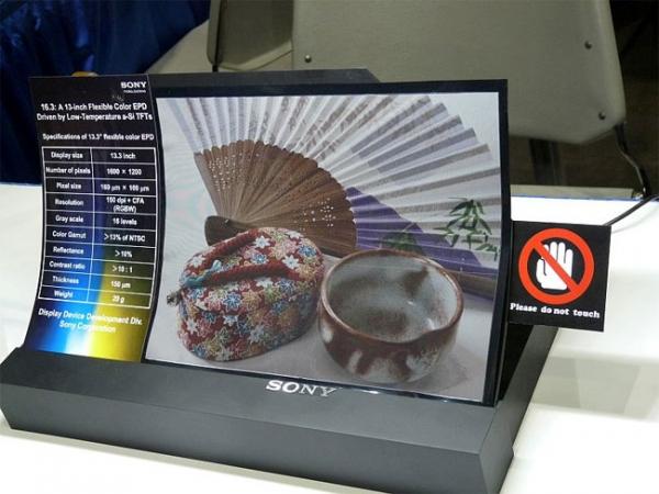 Гибкая цветная электронная бумага от Sony