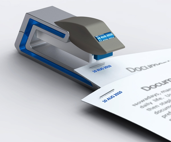 Степлер, проставляющий на скрепляемых документах дату