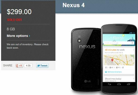 Все запасы Google Nexus 4 раскупили меньше чем за час