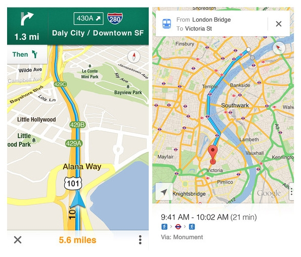 Google Maps back in iOS