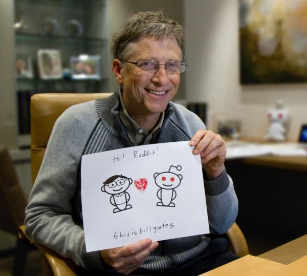 Интервью Билла Гейтса общественности в AMA на Reddit