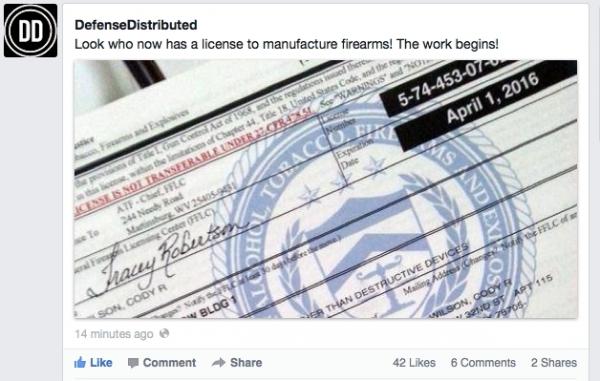 Defense Distributed получила лицензию на печать оружия на 3D принтере