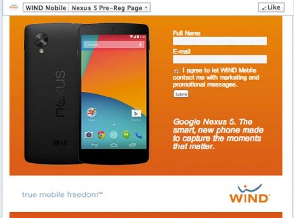 Wind Mobile опубликовала полные спецификации Google Nexus 5