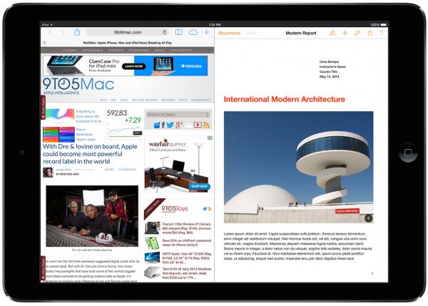 Apple усовершенствует многозадачность в iOS 8 функцией разделения экрана iPad