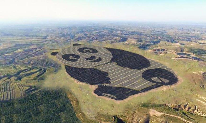 В Китае появилась солнечная электростанция, похожая с высоты птичьего полета на панду