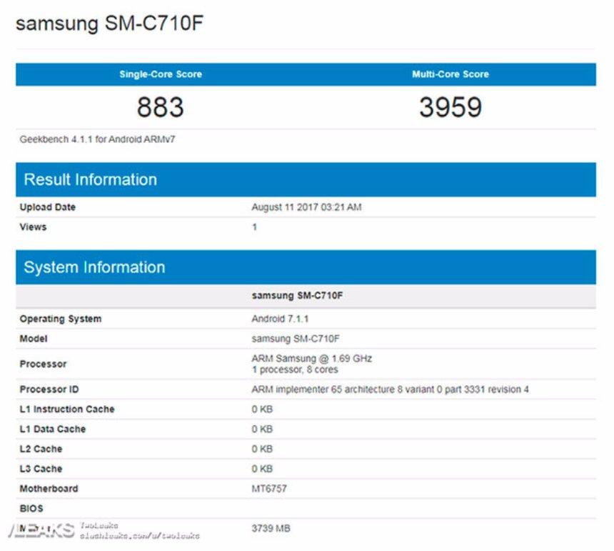 Новый Samsung Galaxy C7 замечен в бенчмарке