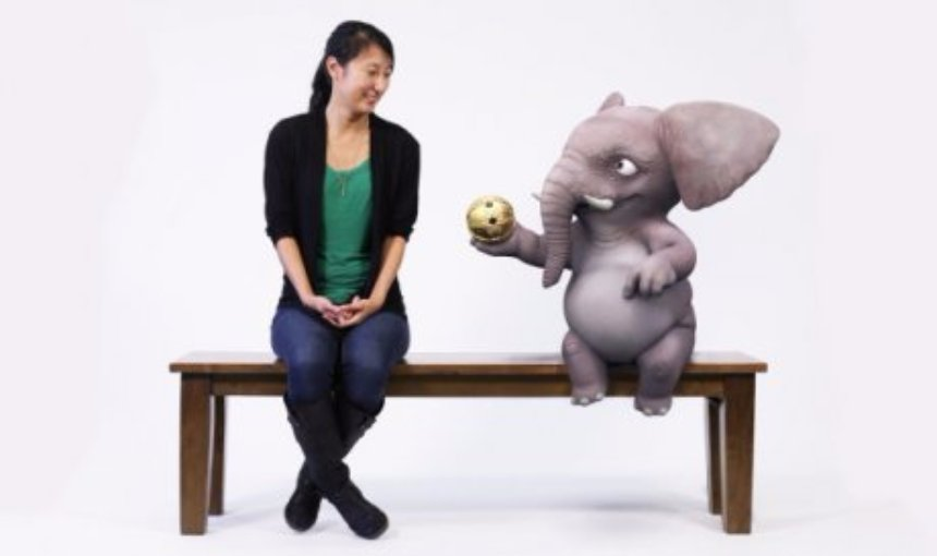Disney Research создает скамью дополнительной реальности с мультяшным слоненком