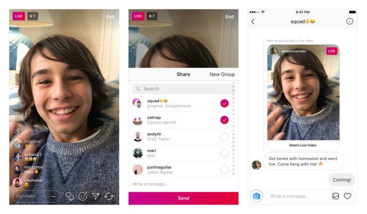Теперь Instagram позволяет обмениваться живыми видео через прямые сообщения