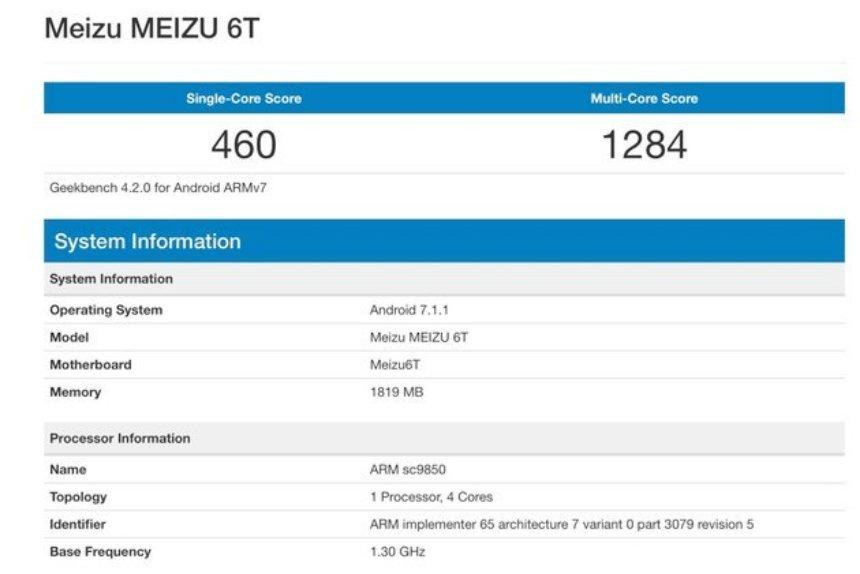 В сеть попали характеристики бюджетной модели Meizu 6T