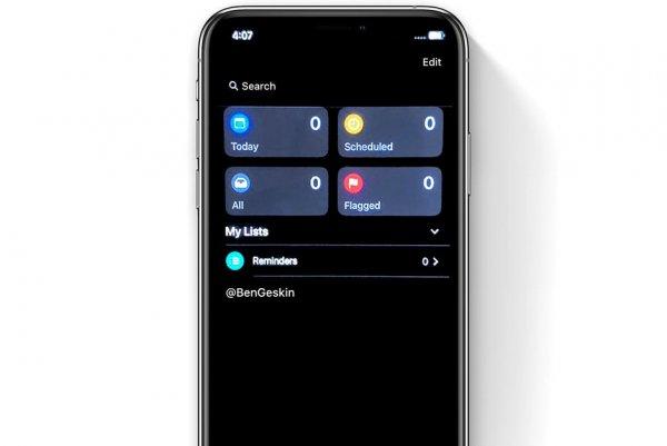 Тёмные «Напоминания» в iOS 13 утекли в Сеть до презентации WWDC