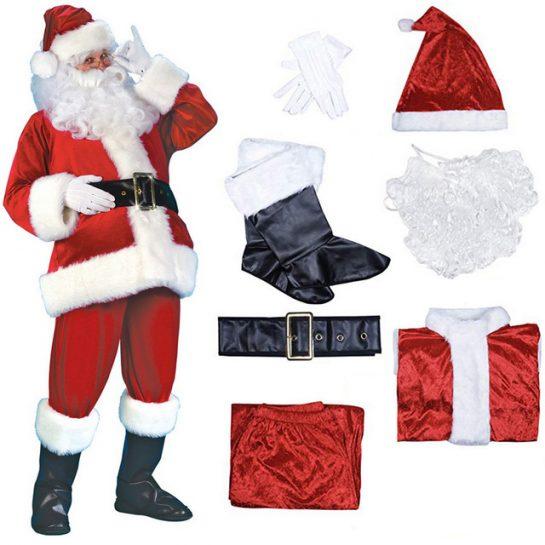 Качественный плюшевый костюм Санта-Клауса для взрослых по выгодной цене